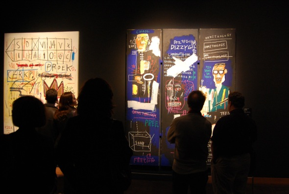 Installation view: Jazz inspired Basquiat paintings at MBAM-MMFA show on Miles Davis