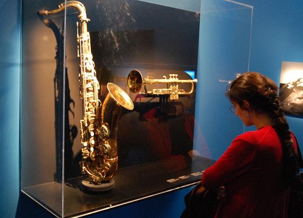 John Coltrane's tenor saxophone alongside of Miles Davis's trumpet.